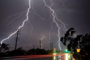 lightning nature rain long exposure