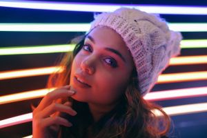 lights hat model face looking at viewer women