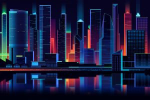 lights vector graphics digital neon lights city lights vector art skyscraper retro style architecture water building modern artwork digital art neon
