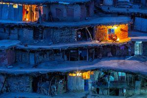 lights village iran fireplace people