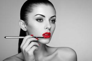 lips lipstick model face women simple background selective coloring oleg gekman