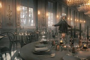 _lm7_ jacket anime girls white hair chandeliers candles
