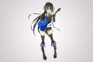 long hair anime girls boots thigh-highs shirt headphones simple background blue eyes guitar black hair original characters dress