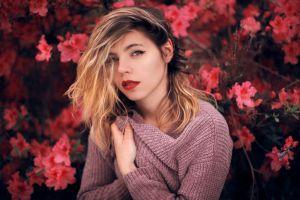 long hair arnaud cassagnet red lipstick sweater women face brunette portrait hair in face flowers
