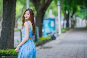 long hair brunette women model asian depth of field