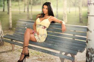 long hair sitting dark hair women model high heels marina shimkovich