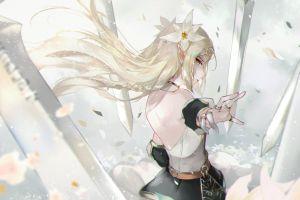 long hair vardan video games women profile fantasy girl anime girls looking at viewer bokeh drawing sword fantasy art epic seven pointy ears artwork