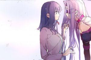 long hair violet eyes fate series anime girls rider (fate/stay night) big boobs matou sakura purple hair digital art violet hair fan art fate/stay night fate/stay night: heaven's feel