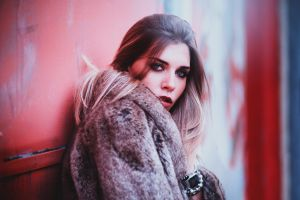 looking at viewer model open mouth women alessia izzo eyeliner brunette fur coats coats long hair