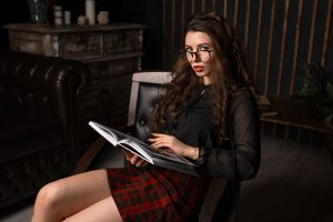 looking at viewer women indoors indoors plaid skirt ilya baranov red lipstick couch sitting glasses portrait women long hair skirt legs chair
