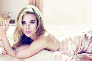 lying down blonde bedroom women actress scarlett johansson