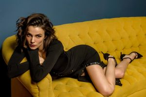 lying down büşra develi dress legs curly hair women brunette high heels brown eyes