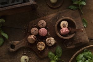 macarons basil leaves cutting board food sweets chocolate