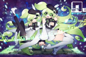 macloid anime girls anime green hair vocaloid green eyes