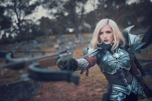 makeup girl in armor cosplay model fantasy girl crossbow blonde women