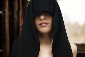makeup lipstick women hoods face model