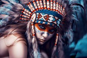 makeup model feathers indian women face women