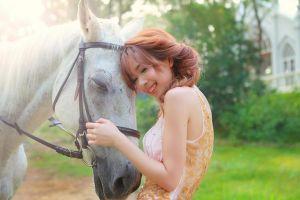 mammals women animals smiling women outdoors asian horse
