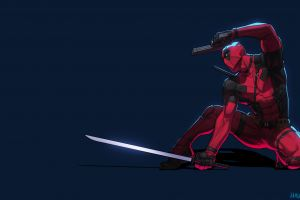 marvel comics simple background antiheroes artwork deadpool blue background