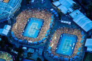 melbourne aerial view tennis blue stadium