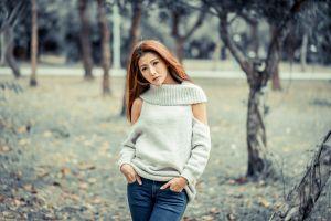 model asian brunette depth of field women