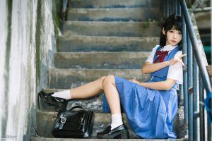model asian depth of field black hair women school uniform skirt