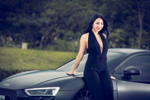 model car black hair audi r8 women long hair dress asian