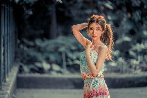 model depth of field women asian long hair brunette