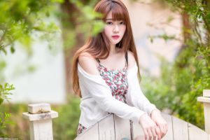 model long hair outdoors white sweater portrait bokeh pink lipstick dress women outdoors women asian looking at viewer sweater brunette