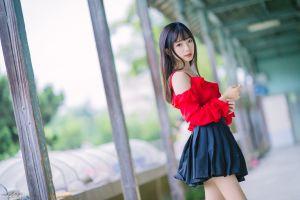 model ning shioulin asian depth of field black hair long hair skirt women