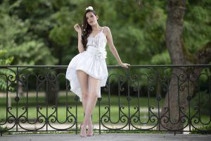 model standing women outdoors legs dress brunette long hair women