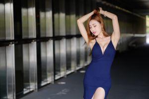 model women asian brunette long hair dress
