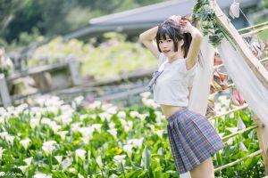 model women black hair depth of field skirt long hair asian