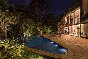 modern trees house swimming pool