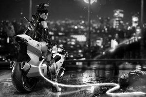 monochrome cyberpunk asian science fiction motorcycle fantasy art fantasy girl futuristic