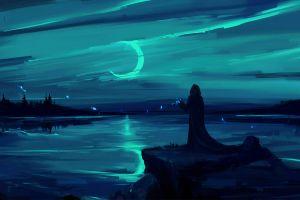 moon rays reflection lake digital art artwork magic digital night dark digital painting games art blue skyscape moon sky