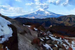 mountains artwork digital art snow