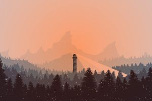 mountains digital art winter snow lighthouse orange