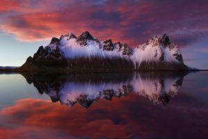 mountains nature reflection water sky