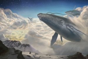 mountains stars fantasy art flying whale gojira clouds artwork