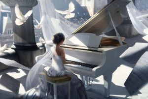 musical notes fantasy art white dress dove piano women painting artwork birds long hair playing column