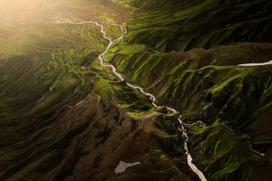 nature bird's eye view rock mountains stream iceland river landscape