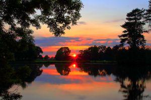 nature lake sunset reflection