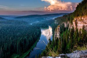nature rock river cliff landscape forest trees