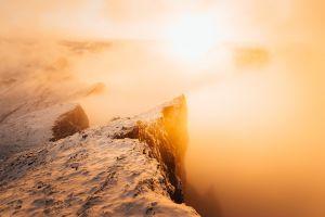 nature sunlight morning snow mountains