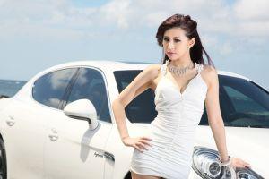necklace white dress women bracelets black hair car asian model