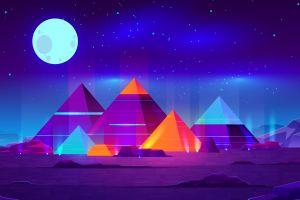 neon starry night stars planet night pyramid digital art moon