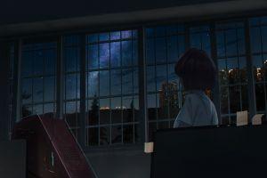 night anime alone room stars city lights trees city window