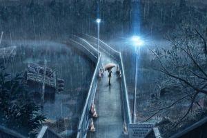 night anime artwork rain bridge umbrella anime girls