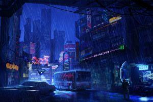night futuristic rain dark artwork futuristic city